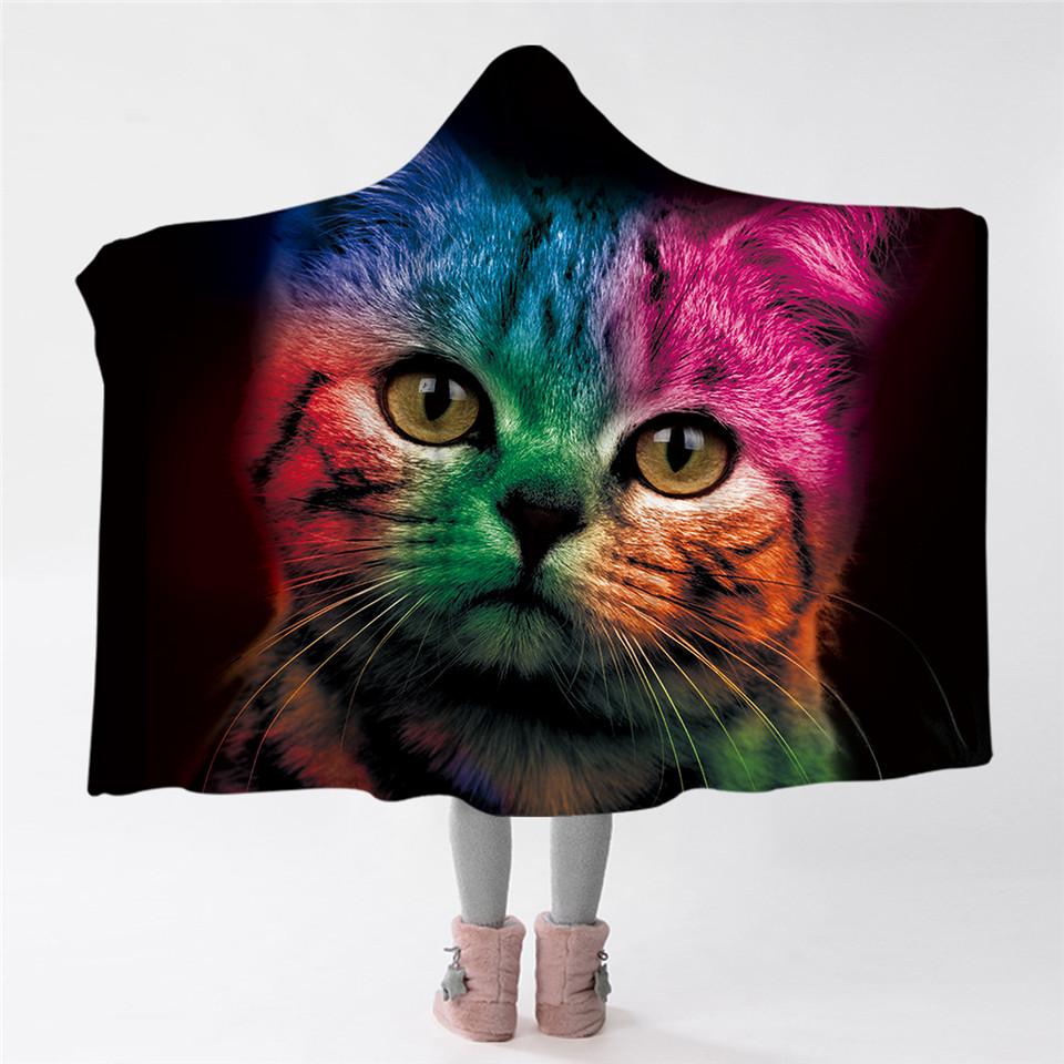 blessliving colorful cat hooded blanket cute animal sherpa fleece throw blanket adults kids. Black Bedroom Furniture Sets. Home Design Ideas