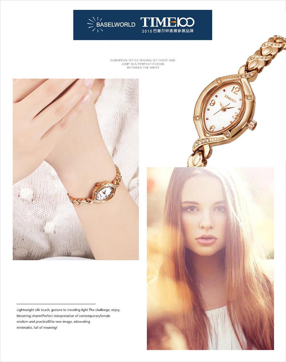 TIME100 Kvinnor Klockor Kvarts Jewlry Guld Cristal Dial Rhinestone - Damklockor - Foto 3