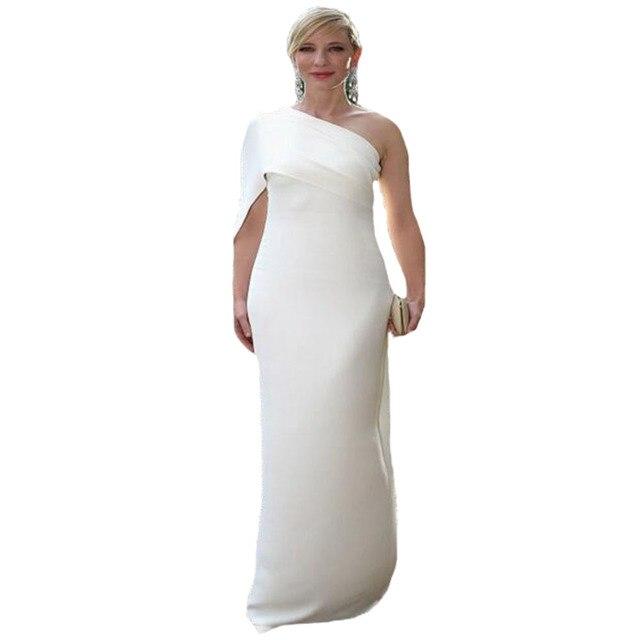 Vestido de festa longo cate Blanchett creme schulter kleid Lange ...