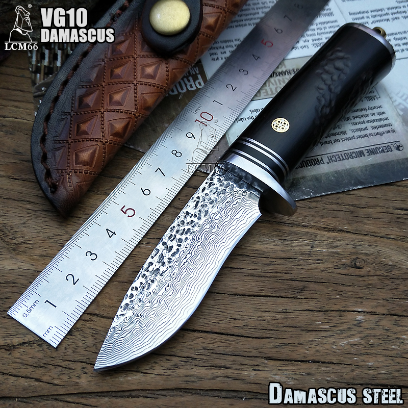 LCM66 Damascus Steel fixed knife Handmade forged Damascus steel hunting knife 60HRC Ebony handle with Leather