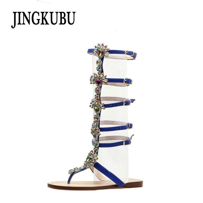 JINGKUBU 2018 été appartements sandale gladiateur or strass genou haute boucle sangle femme bottes bohême Style cristal chaussures de plage