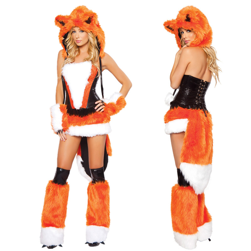 2017 new adult womens sexy orange halloween party fox costumes outfit fancy animal cosplay dress with big tail - Swiper Halloween Costume