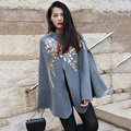 BringBring 2016 Autumn and Winter New Sequins Embroidery  Pullover Coat Women Sweater knitting Jacket Cape Shawl 1754