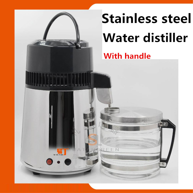 Household Stainless Steel Water distiller water purifier with glass jar and steel body Portable water distiller CE certificate цена