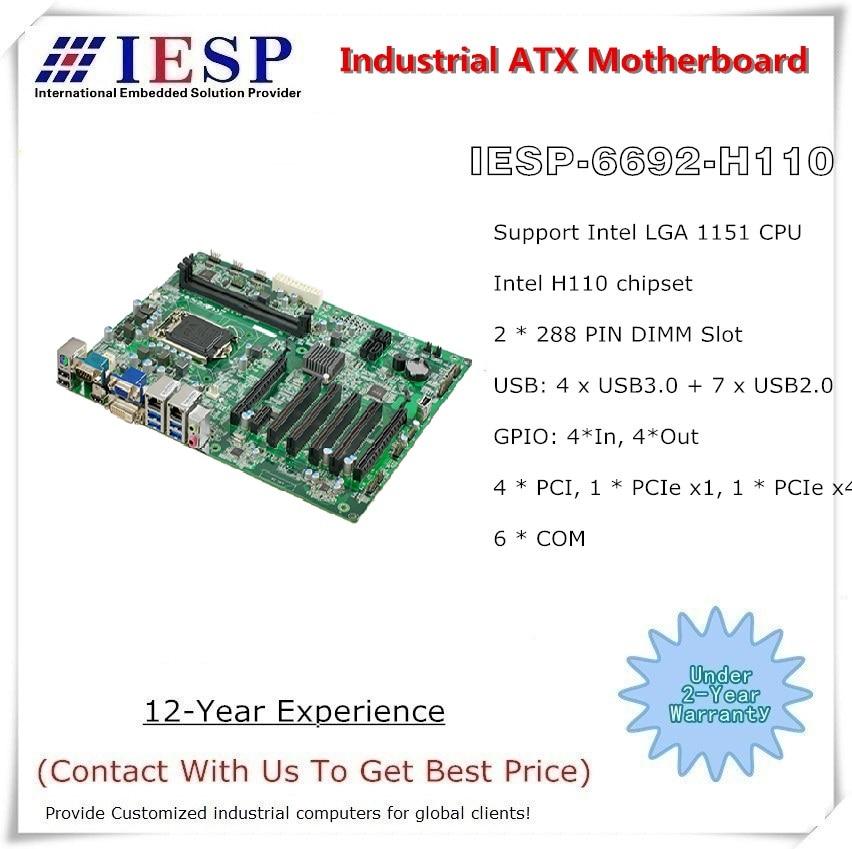 LGA1151 Socket 6th&7th Core I3/i5/i7 CPU, 6*RS232, 2*GLAN, 4*USB3.0, 6*USB2.0, 4* PCI, Industrial ATX Motherboard