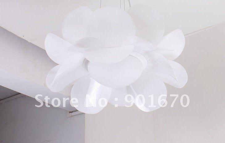 Free Shipping D55cm White Acrylic Lotus Flower Modern Pendant Lamp