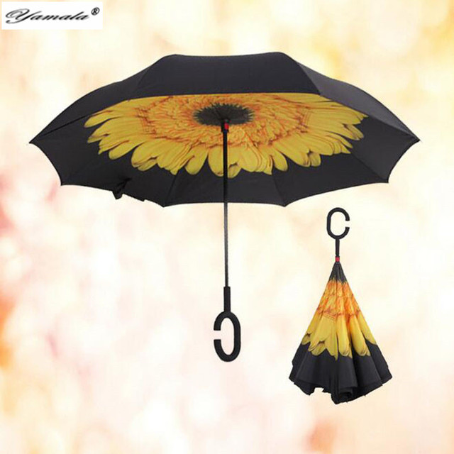 Yamala  Modern Upside Down Reverse Umbrella C-Handle Double Layer Inside-Out Blue Sunny Sky Umbrellas