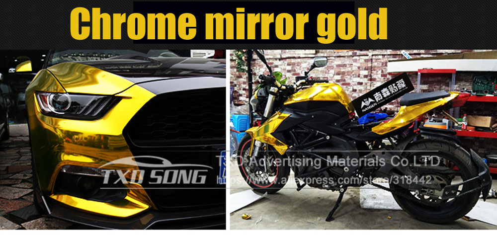 Image 5 - Premium quality stretchable mirror gold Chrome Mirror flexible Vinyl Wrap Sheet Roll Film Car Sticker Decal Sheet-in Car Stickers from Automobiles & Motorcycles