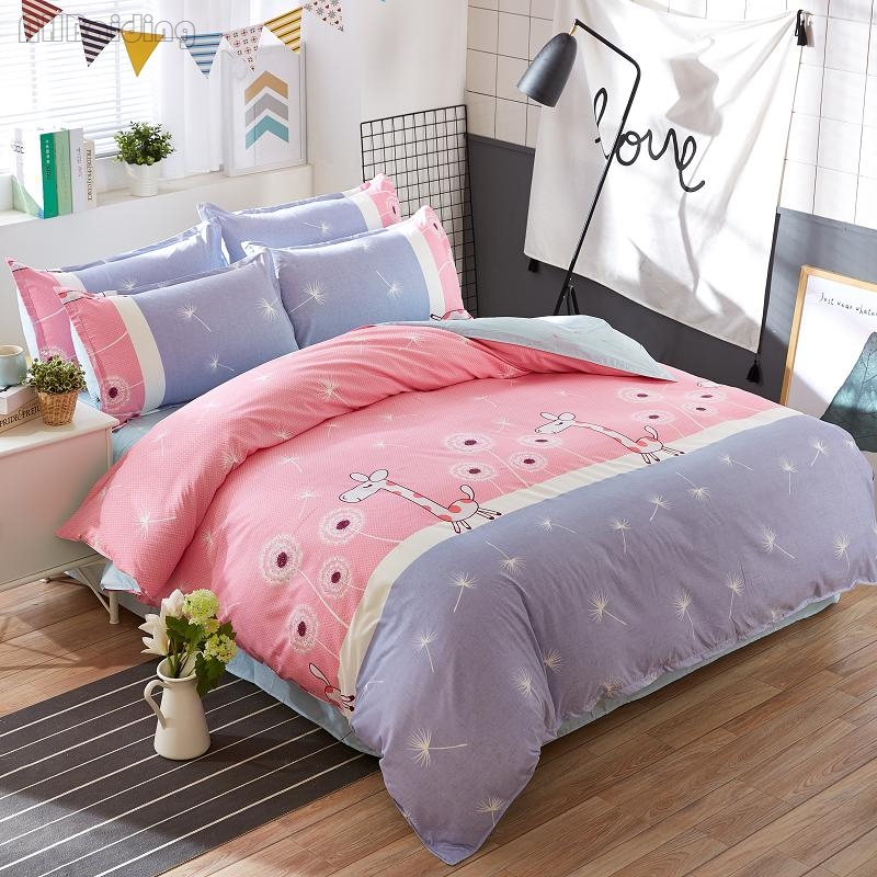 Cartoon Pink Giraffe Printed Bedding Set for Children 3/4pcs Cotton Bed Set for Kids Twin Full Double Queen Size Duvet Cover Set