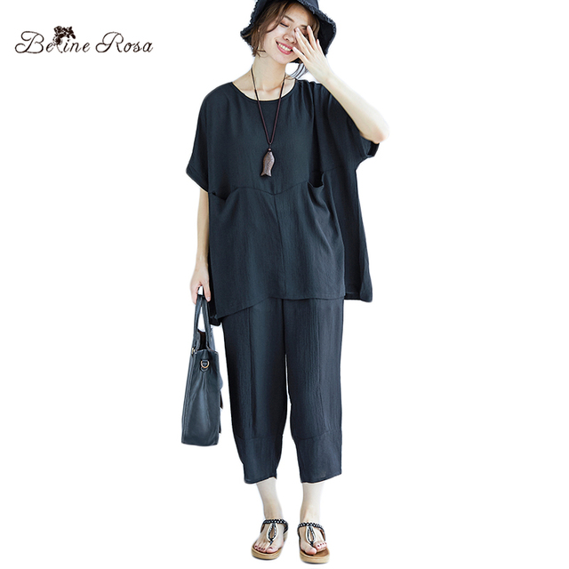 cc980b3b0464 BelineRosa Pure Color Casual Women's Clothing Plus Size 2 pcs Clothes Simple  Style Tops with Pants TYW00881