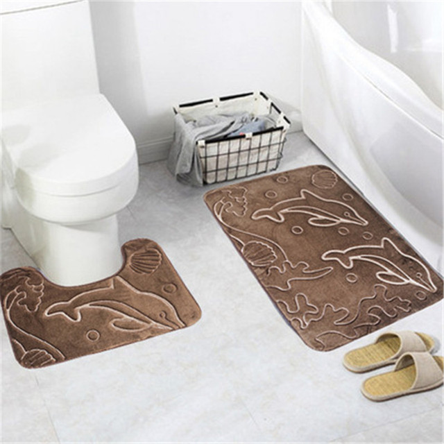 Toilet Mats 2pcs/set Antislip Super Soft Flannel Rugs Carpet For Bathroom And Toilet Bath Rugs Set tapis salle de bain et wc lot