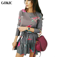 GOKIC Women Autumn Spring Dress 2017 Female New Elegant Floral Print Dress O Neck Long Sleeve
