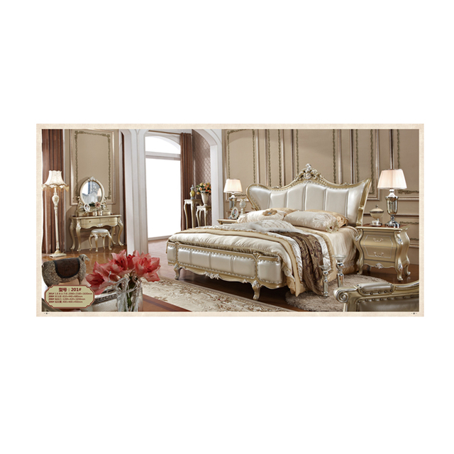 European Antique wedding bedroom set Classic Hand Carved French Luxury Rococo bed design furniture wooden