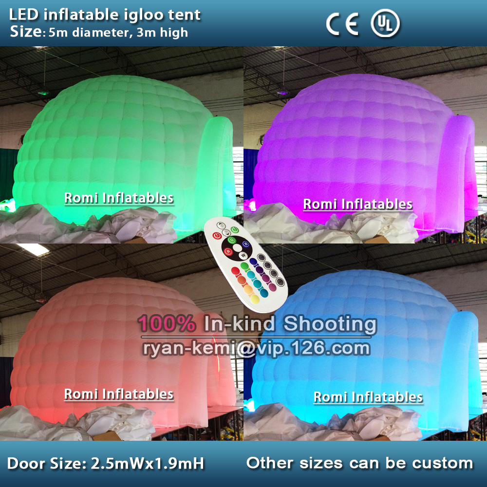 5m color changing LED lighting inflatable dome tent LED lighted inflatable igloo tent inflatable party tent with LED light white blow up igloo dome inflatable tent product for promotion