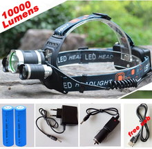 10000Lm CREE XML T6+2R5 LED Headlight Headlamp LED Head Lamp Headlight LED 4-mode torch +2×18650 battery+ charger fishing Lights