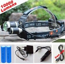 10000Lm CREE XML T6+2R5 LED Headlight Headlamp LED Head Lamp Headlight LED 4-mode torch +2×18650 battery+ charger fishing Lights
