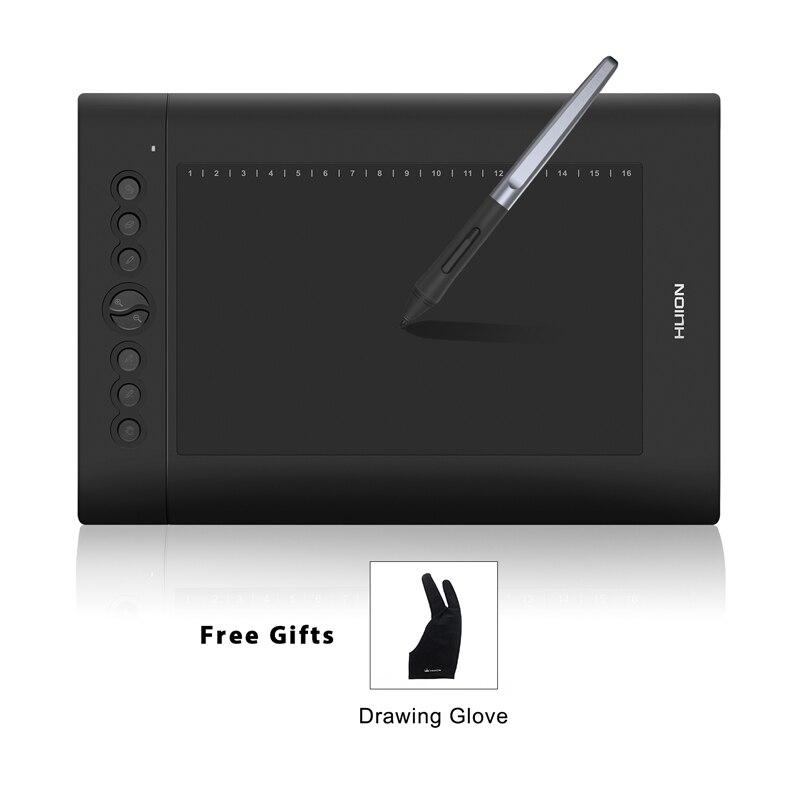 HUION H610 PRO V2 10 цифровой Планшеты графический Рисунок пером Tablet 8192 уровней наклона Функция Батарея-Free Stylus с перчатки подарок
