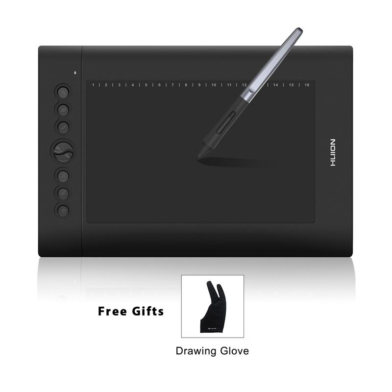 HUION H610 PRO V2 10 Numérique Comprimés Graphique Dessin Stylo Tablet 8192 Niveaux Tilt Fonction Batterie-Stylus Gratuit avec Gant Cadeau