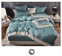 Синий комплект постельного белья Twin queen King size простыня набор роскошный Egypian Хлопок Звезды вышивка постельное белье простыня пододеяльник на