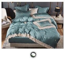 Niebieski pościel zestaw Twin królowa łóżko typu king size zestaw arkuszy luksusowe Egypian bawełna gwiazdy haft pościel narzuta na kołdrę i prześcieradło zestaw