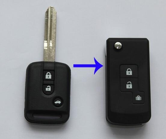 Otomobiller ve Motosikletler'ten Hırsız Alarm'de 3 düğmeler Çevirme Uzaktan Durum Nissan ELGRAND Modifiye Flip anahtar kılıfı Boşlukları title=