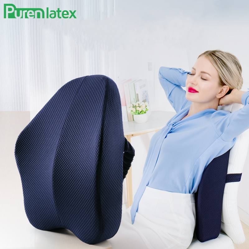 Purenlatex Orthopedic Cushion Office-Sofa-Chair Memory-Foam Back-Pain-Relieve Pillow