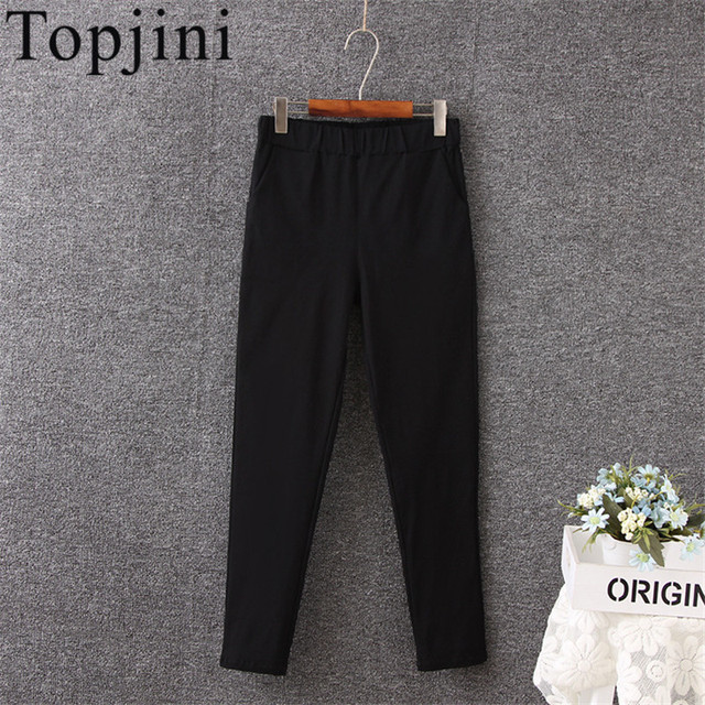 Topjini brand Plus Size 2XL-5XL Women's Casual Pants Elastic High Waist Solid Color Slim Fit Long Pencil Pants