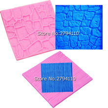 Dry Wall &Bark Cake Decoration Fondant 3D Mould Moldes De Silicona Baking Cake Decorating Tools C117,10*10*0.6cm