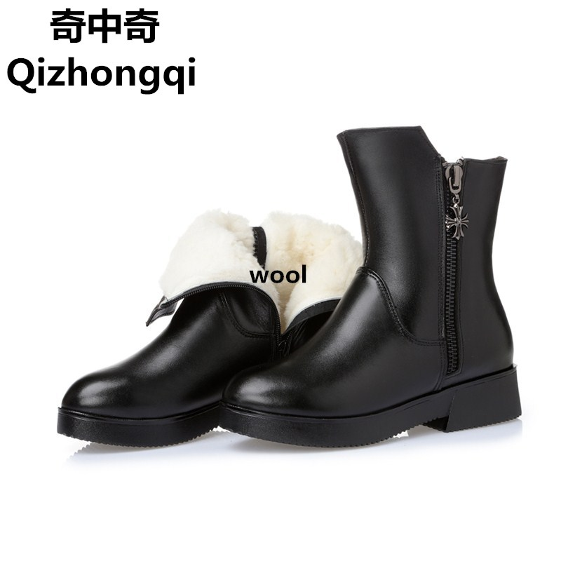 Large size 35-43 # Genuine Leather Women's boots, thick wool winter snow boots women, high-quality cowhide motorcycle boots цены онлайн