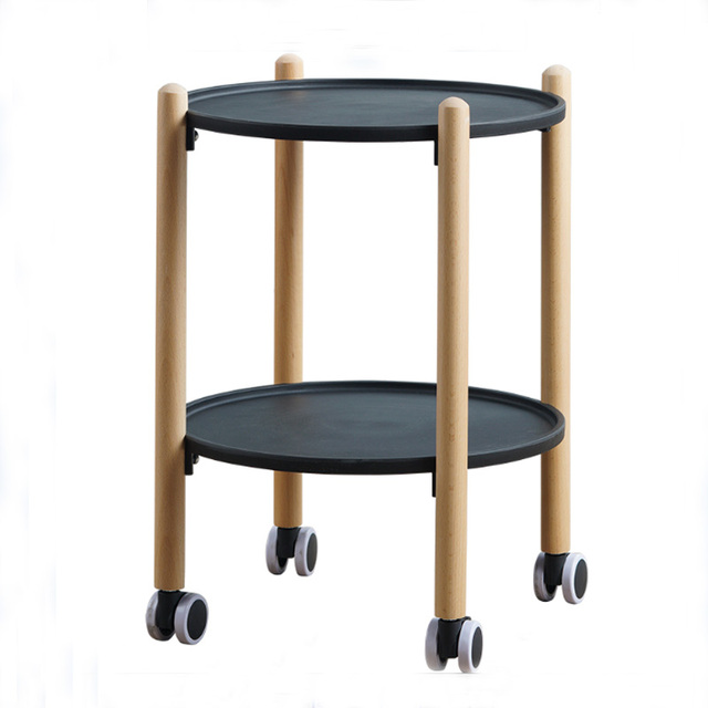 Beach Wood Removable End Table 2 Layers Dining Car Round Coffee