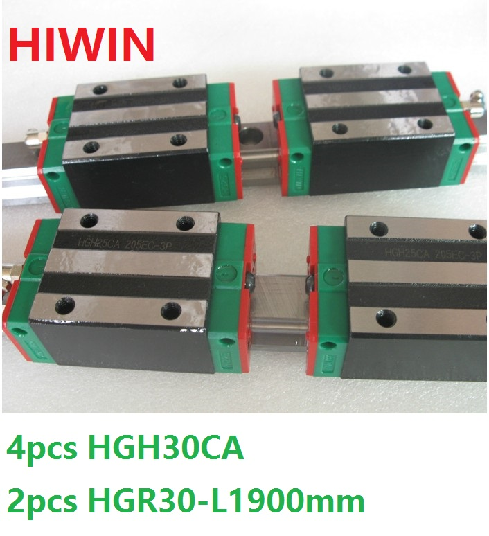 2pcs 100% original Hiwin linear guide rail HGR30 -L 1900mm + 4pcs HGH30CA linear narrow block for cnc router transforming hatha yoga