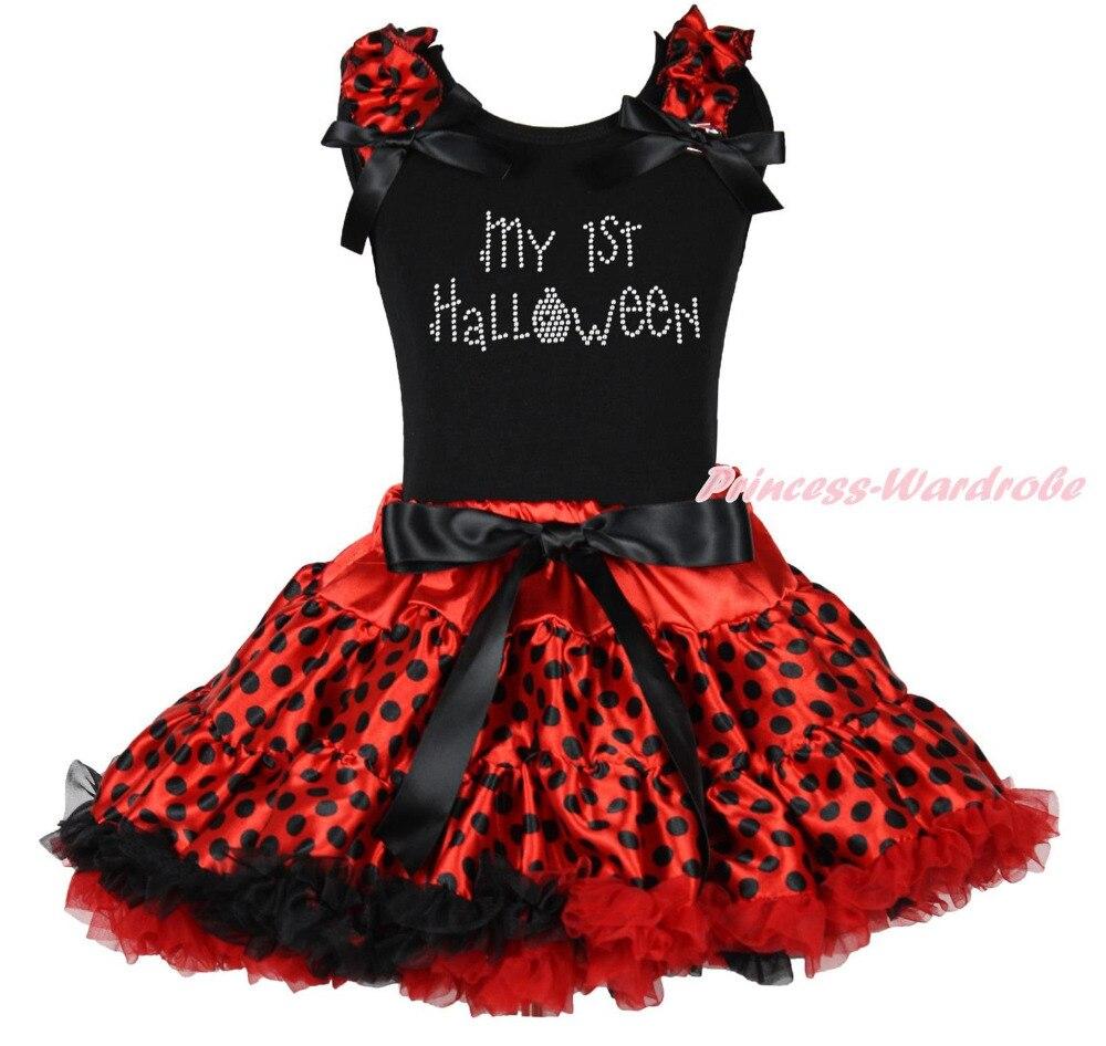 My 1ST Halloween Black Top Shirt Red Black Dot Skirt Girls Cloth Outfit Set 1-8Y MAPSA0849 halloween rhinestone cat white top dusty pink skirt girls cloth outfit set 1 8y mapsa0785