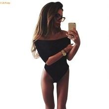 Summer Women Fashion Black White half Sleeve Tops Sexy Slash Neck Off Shoulder Jumpsuit Bodysuit Clubwear One Piece Jumpsuit w#