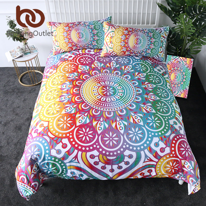 BeddingOutlet Mandala Bedding Set Colorful Flower Duvet Cover Bohemian Printed Home Textiles Girly Rainbow Bedclothes 3-Piece
