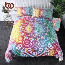 BeddingOutlet Mandala Bedding Set Colorful Flower Duvet Cover Bohemian Printed Home Textiles Girly Rainbow Bedclothes 3 Piece