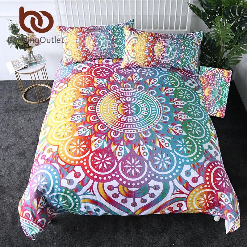 Beddingoutlet Mandala Bettwäsche Set Bunte Blume Bettbezug Böhmischen Gedruckt Home Textilien Girly Regenbogen Bettwäsche 3-stück Mit Einem LangjäHrigen Ruf Möbel