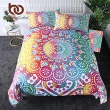 BeddingOutlet Mandala nevresim takımı renkli çiçek nevresim takımı Bohemian baskılı ev tekstili Girly gökkuşağı yatak örtüsü 3 parça