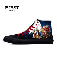 First Dance Black Classic Canvas Christmas Shoes Men Spring High Top Canvas Shoes Male Custom Santa Claus 3D Printed Shoes Man