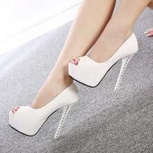 52b1f4acb 2018 Do Sexo Feminino Sapatos de Plataforma de Boca de Peixe Diamante Mulheres  Bombas Salto Alto Ultra 12 cm Sapatos Sexy Peep T..