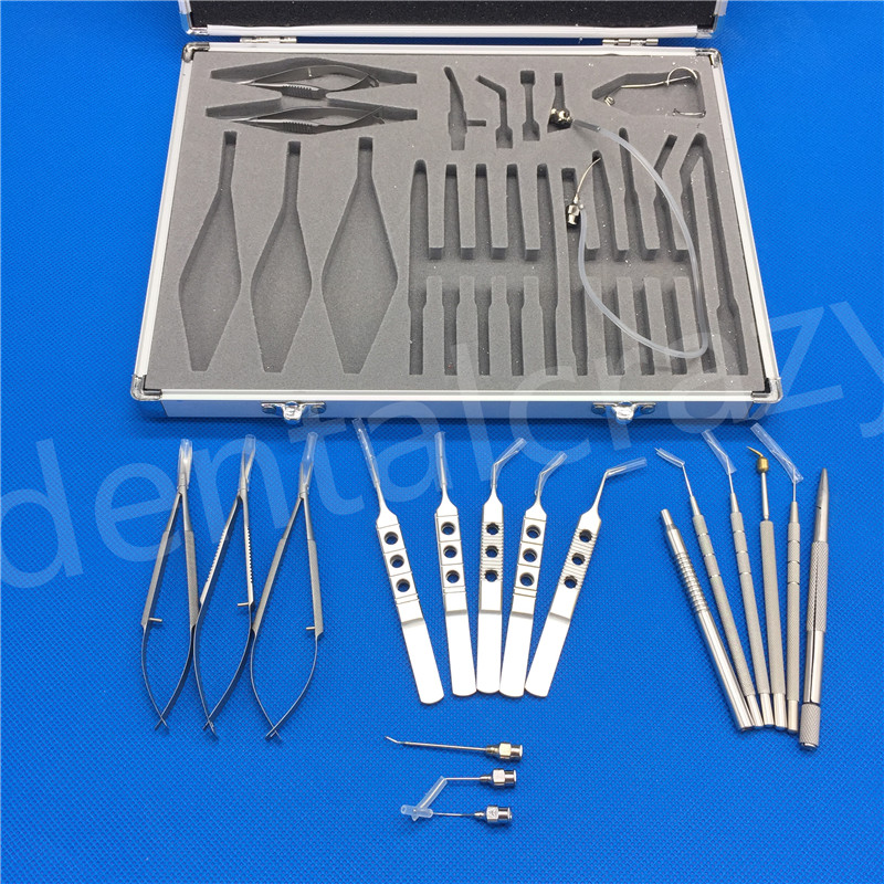 New Micro Surgery Surgical Instruments Ophthalmic Cataract Eye Instruments 21pcs /SET childhood cataract