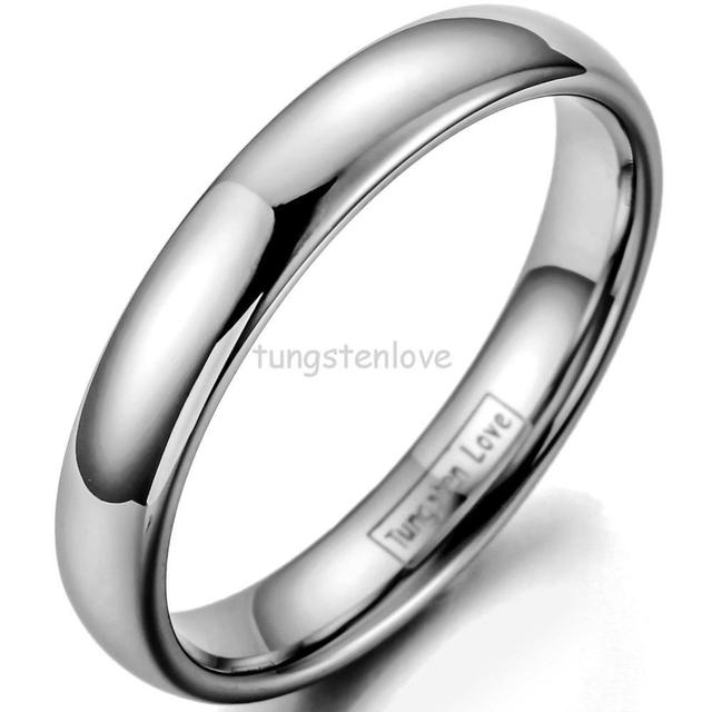 4MM High Polished Plain Dome Cheaper Tungsten Carbide Rings for Women Men Party Engagement Anniversary Ring ( Silver )