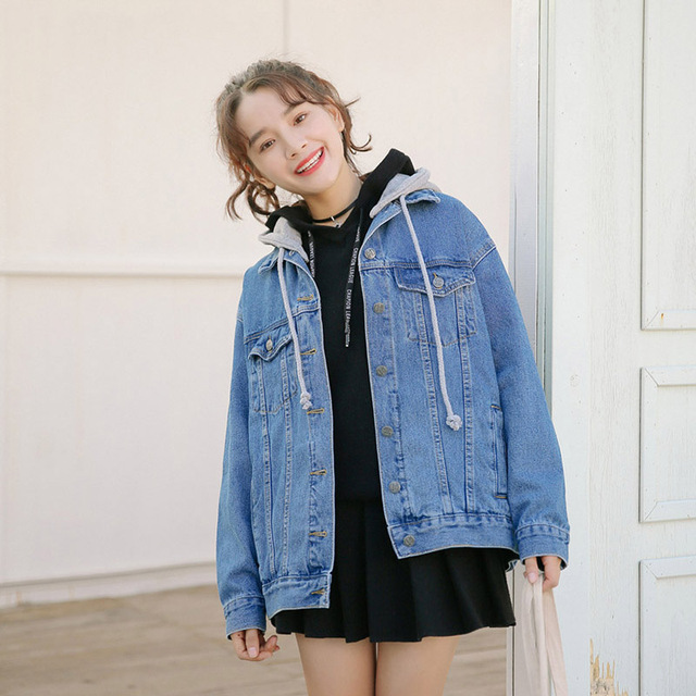 1e8253fba15 2018 Casual Style Women Spring Autumn Vintage Hooded Jeans Jacket Girls  Loose Personality Denim Blue Black Color Coats   Jackets