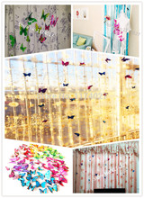Free shipping 12pcs PVC 3d Butterfly Wall stickers Home decor with pin colorful Butterfly Curtain stickers