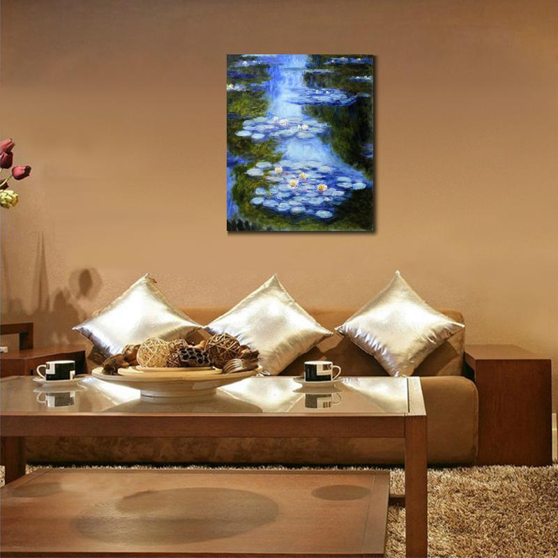 Handmade-oil-painting-reproduction-of-Claude-Monet-High-quality-Water-Lilies-blue-green-Living-room-decor (3)