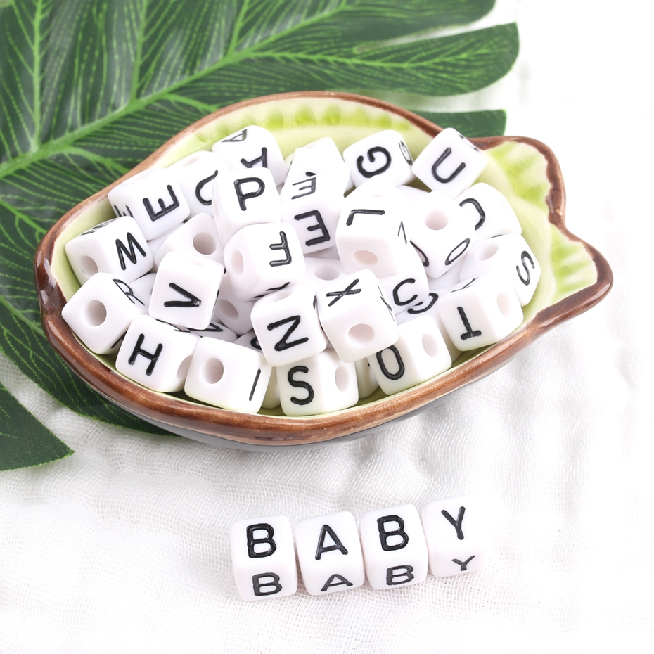 Bite Bites 26PC White Acrylic Letter Alphabet Cube Beads 12mm Pacifier Chain Jewelry Making Jewelry DIY Accessories Baby Teether