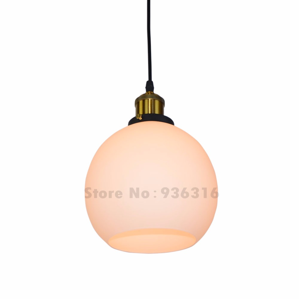 Modern Frosted Glass Shade White Pendant Lights Retro Loft Restaurant Coffee Shop Lustres E27 Edison LED Bulbs Fixture modern colorful color stone glass pendant lights retro hanging restaurant lustres g4 led bulbs fixture indoor lighting