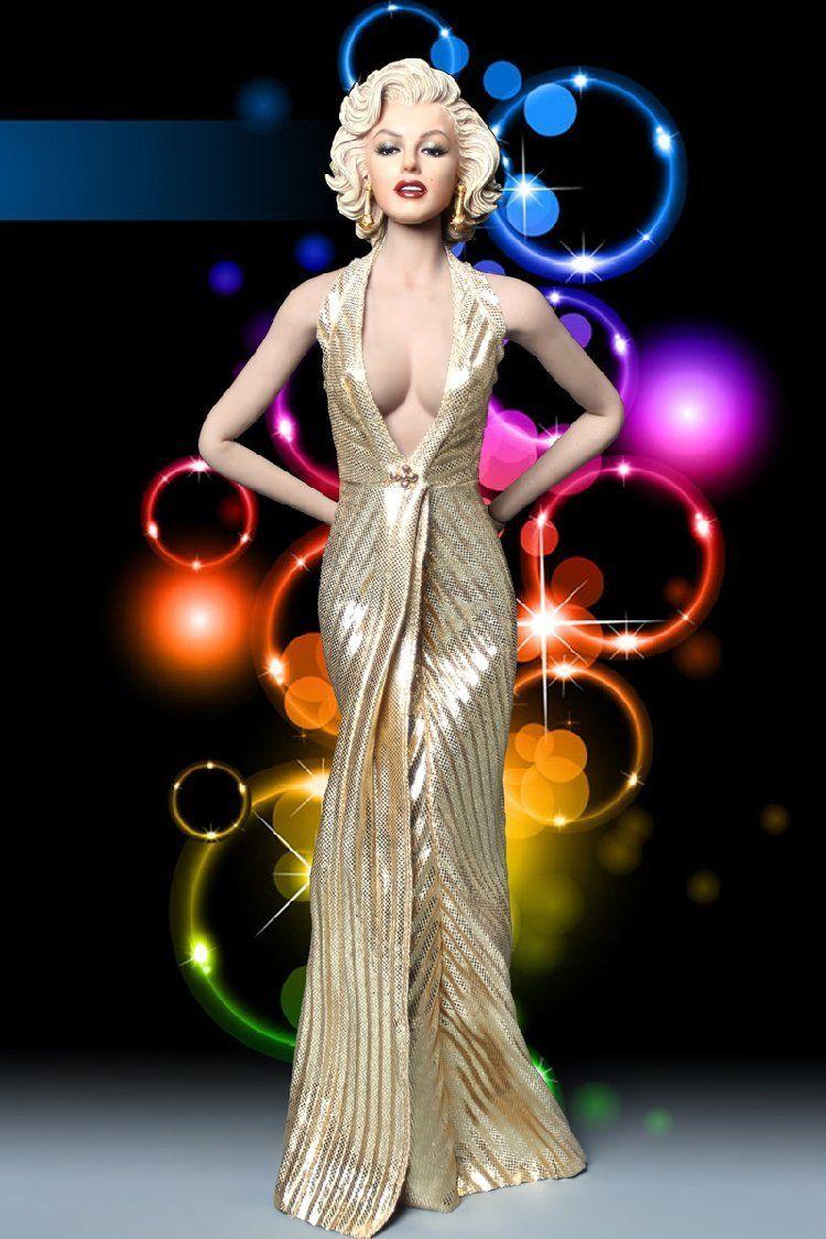 Marilyn Monroe Living Room Decor: Custom 1/6 1953 Marilyn Monroe Head & Gold Evening Dress