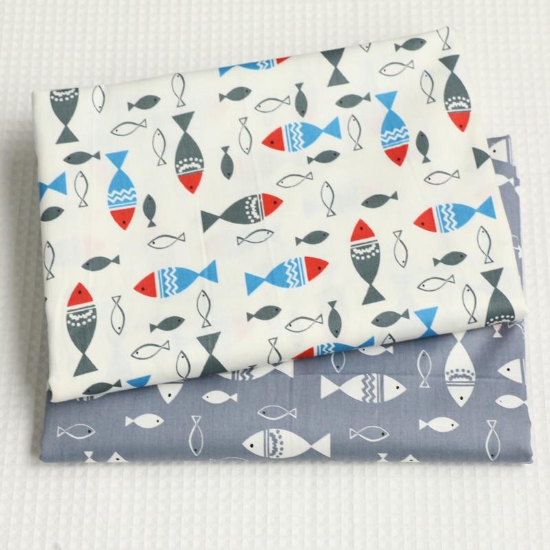 ᗑ】Pescado impreso algodón Telas para DIY costura Costura