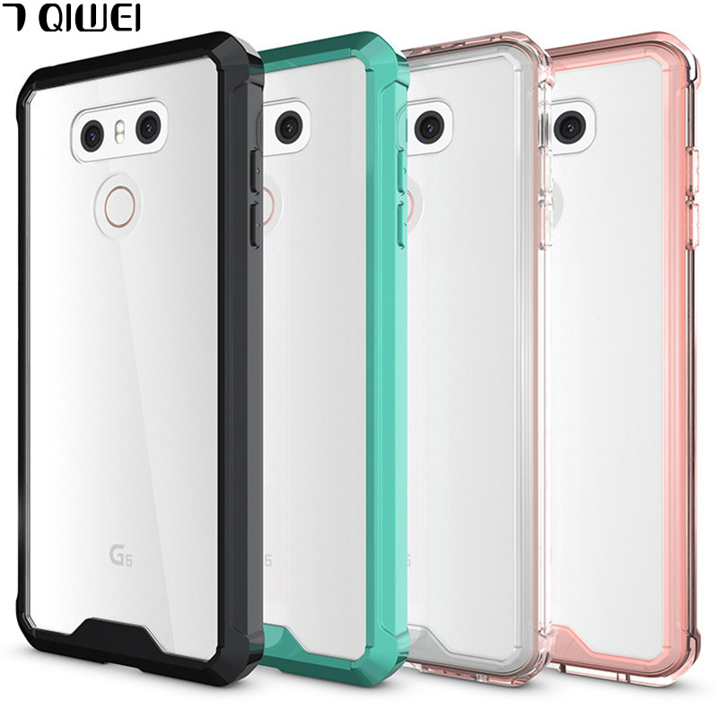 E For LG G6 Case Crystal Hybrid Bumper Clear TPU PC Acrylic Back Cover for LG G6 G 6 Case Phone Cases For LGG6 Protective