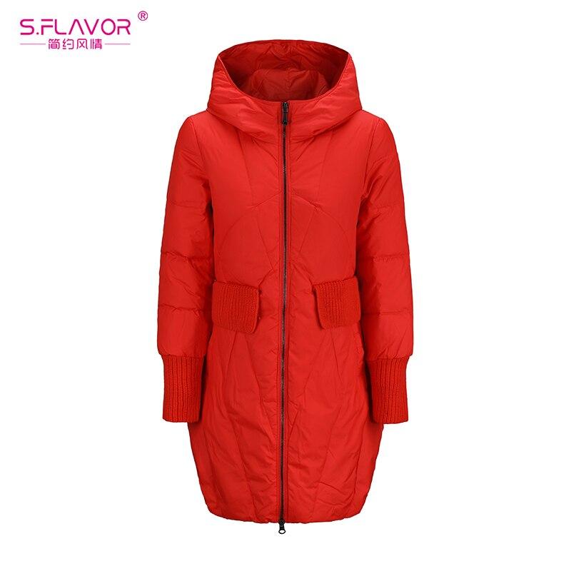 S.FLAVOR Women Winter Warm   Down     Coat   Hooded Zipper Parka New Long Sleeve   Down   Jackets Women Winter Casual Outerwear